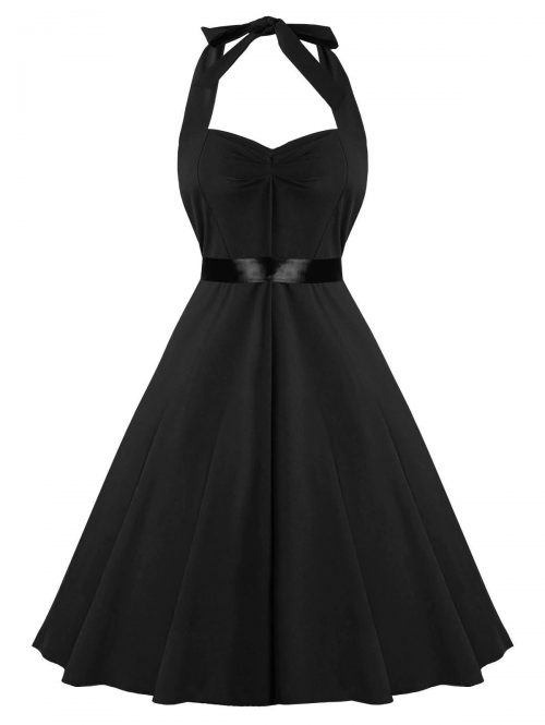 Fit and Flare Halter Black Vintage Dress