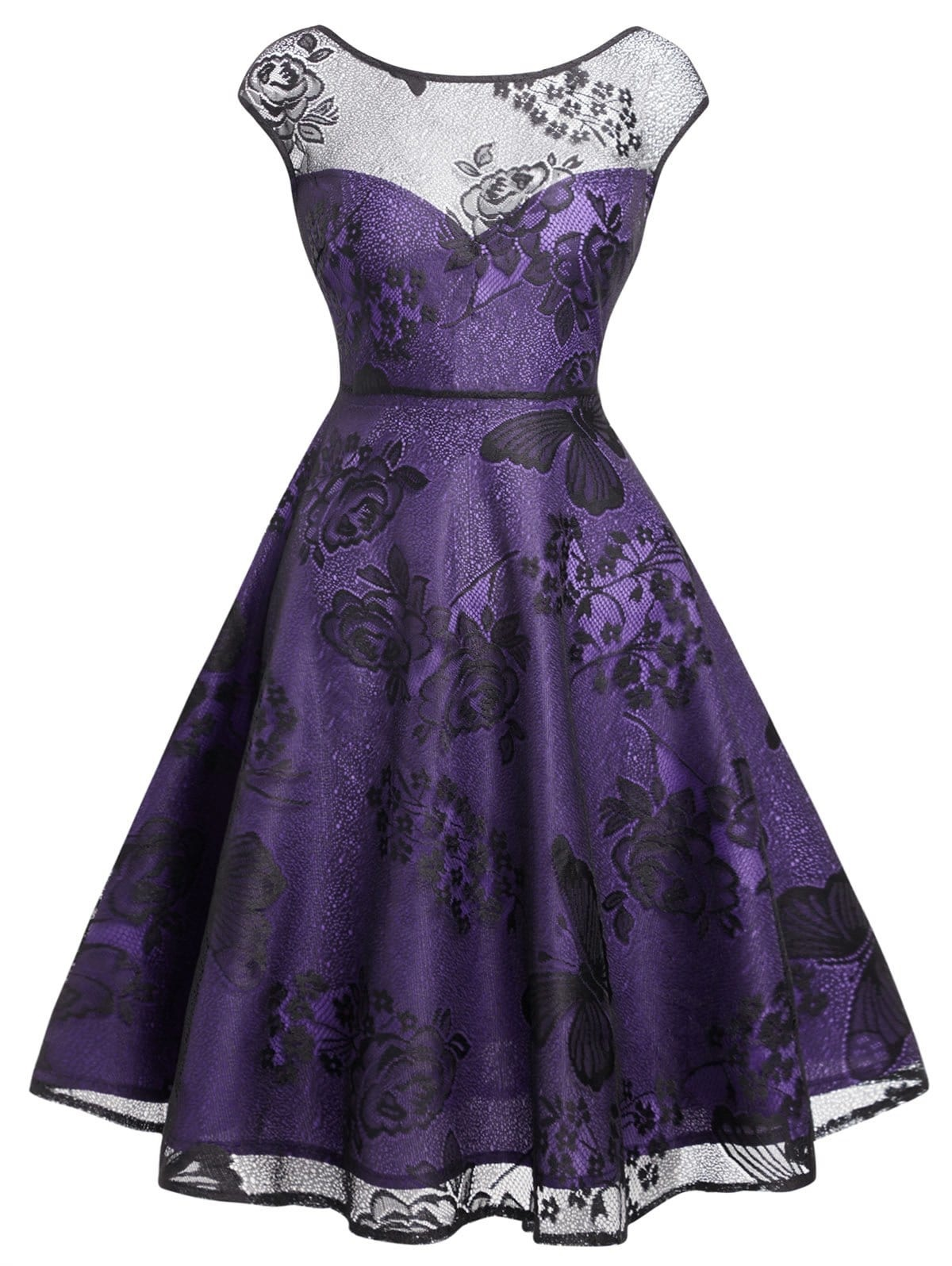 Flower Butterflies Vintage Mesh Overlay Dress