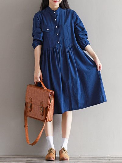 High Waist Long Sleeve Vintage Dress