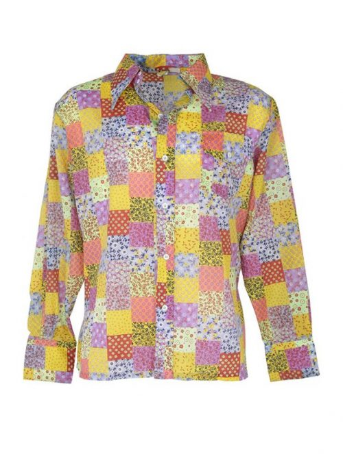 244cfad447b 1970s Skyr Acid Bright Patchwork Floral Vintage Shirt