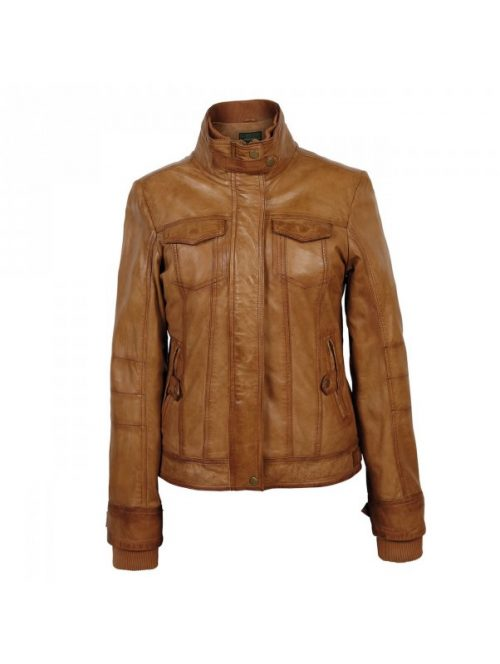 Vintage Ladies Tan Leather Jacket