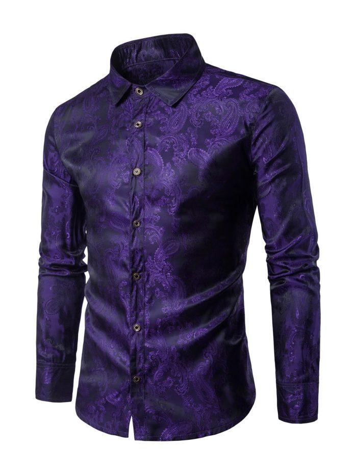 Paisley Long Sleeve Purple Vintage Shirt