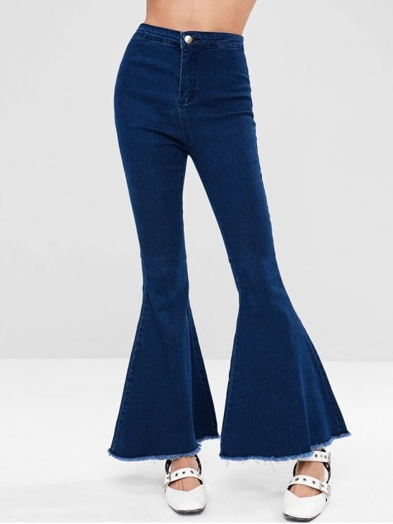 Dark Wash Frayed Hem Flare Jeans