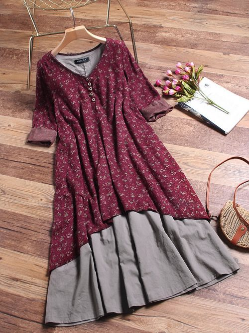 Floral Printed Two Layers Long Sleeve Vintage Dress