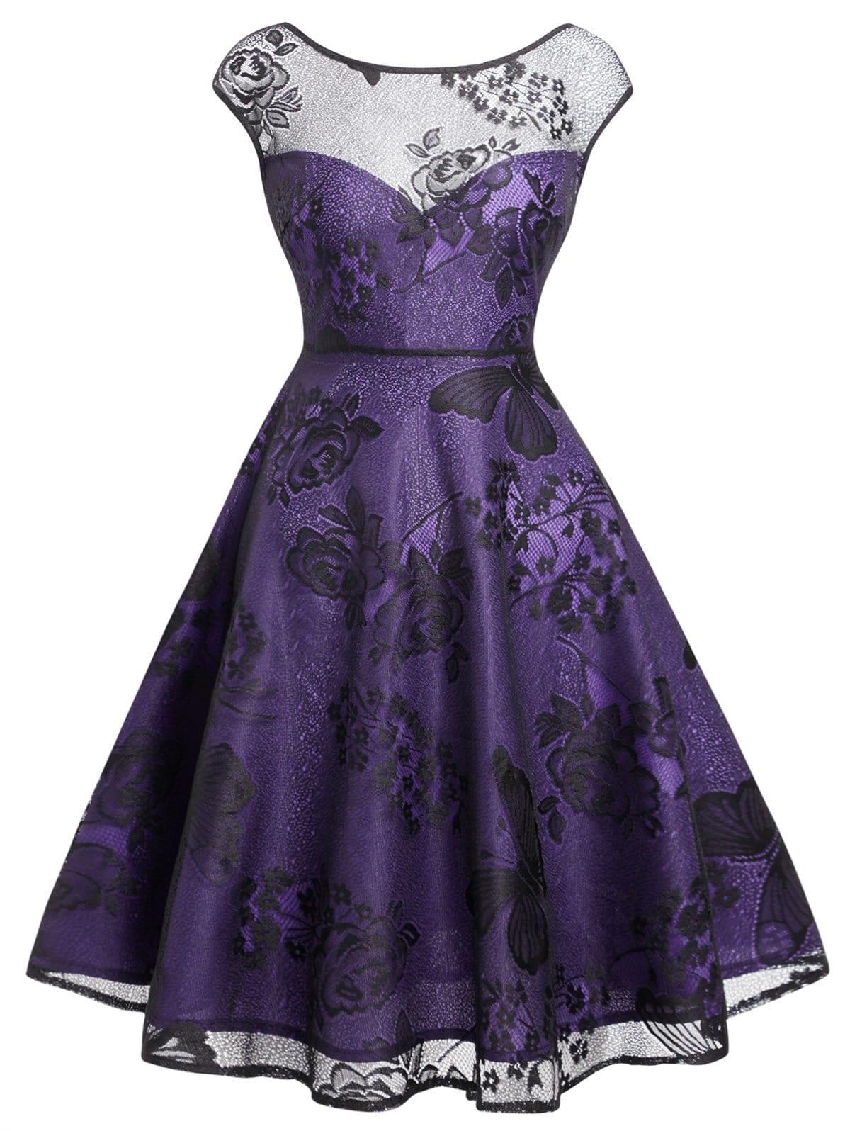 Flower Butterflies Vintage Mesh Overlay Dress