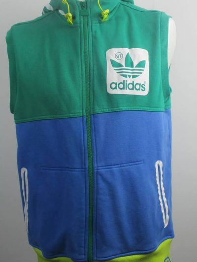 Retro multi-coloured sleeveless Adidas hoodie